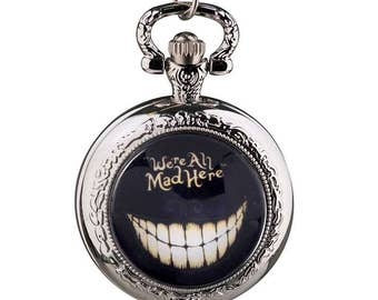 Disney Alice in Wonderland Pocket Watch, Mad Hatter Magical Fob Watch Clock Children's Magical Through The Looking Glass