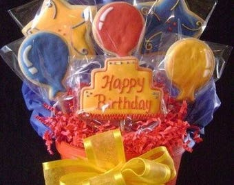Happy Birthday cookie bouquet | Custom decorated cookie gift | Birthday cake and party balloons