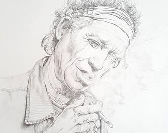 Keith Richards Portrait - The Rolling Stones - Graphite - Fine Art Print