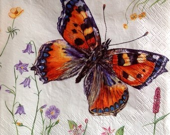 4x Paper Napkins for Decoupage Scrapbooking Craft Butterfly 115