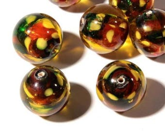 Calico satin Czech Vintage Glass lampworked 8mm beads