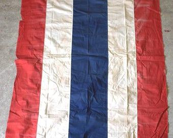 Red White Blue Cotton Bunting Flag 4 feet X 6 feet Patriotic Vintage Antique (R4H)