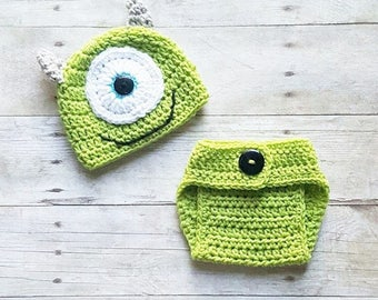 Crochet Baby Monsters Inc Mike Sulley Option Hat Beanie Diaper Cover Set Newborn Baby Infant Handmade Photography Photo Prop Baby Shower