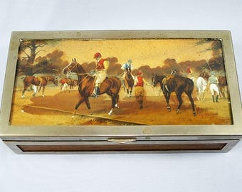 George Wright Art Deco Painted Box-Polo Theme