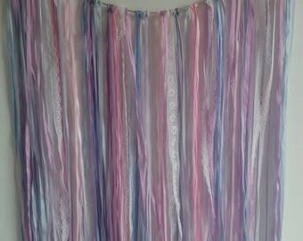 Purple, Pink, Blue and Lace Ribbon Garland Backdrop for Weddings, Bridal or Baby Shower