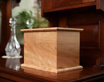 Cherry Cremation Urn, Simple, Modest, Solid Wood Urn