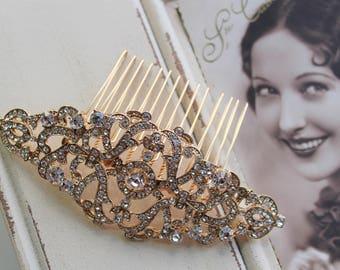 Gold  Art Deco Hair Comb , Art Deco headpiece, Vintage Style Crystal Hair Comb,  Bridal Headpiece, Wedding Hair Comb
