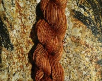 "Hand painted super soft 100% Merino wool Sport weight ""Auburn Brunette"" 50g mini-skein"