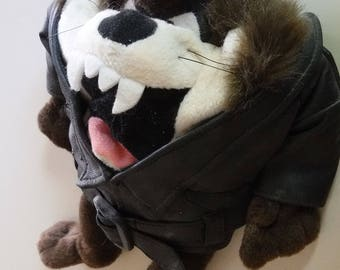 Tazmanian devil biker stuffed doll jacket cap Taz collectible 1980's Warner Bros