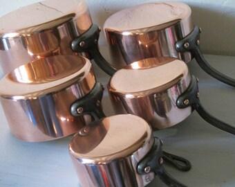 Graduated set of five French copper pans.Professional cookware. Villedieu copper pans. Heritage copper pans.French quality pans. Ideal gift.