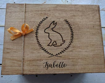 Large Personalised Memory Box With Rabbit