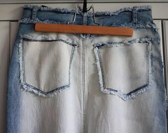 Sale ! Vintage Jeans Skirt Women Ragged Blue Denim Ombre Long Skirt Hippie High Waist 90s