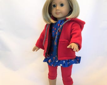 18 inch doll clothes; doll active wear; tunic, leggings, hooded jacket