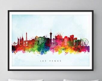 Las Vegas Skyline, Las Vegas Nevada Cityscape Art Print, Wall Art, Watercolor, Watercolour Art Decor [SWLAS03]