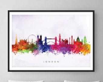 London Skyline, London Cityscape England, Art Print, Wall Art, Watercolor, Watercolour Art Decor [SWLDN02]
