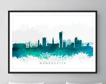 Manchester Skyline, Manchester England Cityscape England, Art Print, Wall Art, Watercolor, Watercolour Art Decor [SWMAN07]