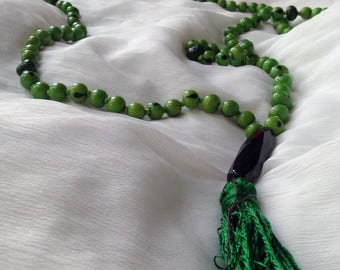 Japa Mala - Green - 108 Beads with Spacers and Pendant