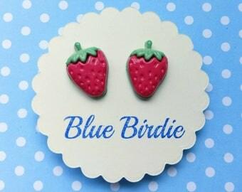 Strawberry earrings strawberry jewellery strawberry jewelry strawberry stud earrings fruit jewellery summer earrings Wimbledon earrings