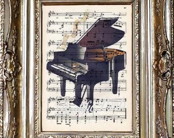 Piano Dictionary Art Print, Piano Sheet Music Art Print, Vintage Paper Print, Dictionary Art, Pianist Gift, Musician Gift, Music Gift