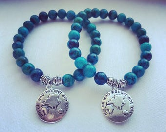 Not All Who Wander Are Lost Beaded Bracelet