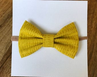 Mustard yellow nylon headband, barrette, or ponytail