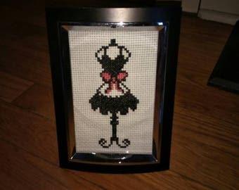 Apron on a dress form cross stitch