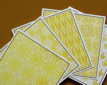folded cards/13 X 13 cm/set of 5 dutch design with envelopes//yellow//prints/festive cards/unique design/
