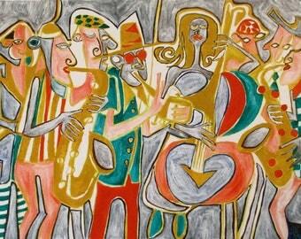 Art outsider art modern art oil painting 'Quiet Jazz' by Alfred Halliday Art