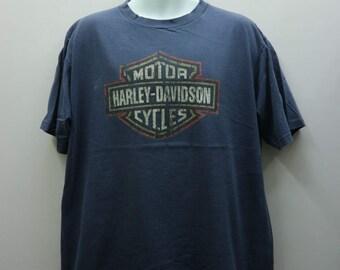Vintage Harley Davidson Motor Cycles T Shirt Big Logo Streetwear Made In USA Round Neck Top Tee Size 2X