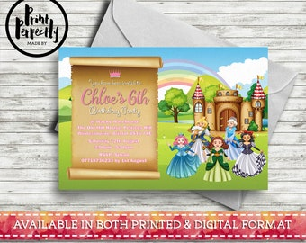 Princesses Castle and Scroll  - Luxury Childrens Customised Birthday Party Invitations (Printed & Digital)
