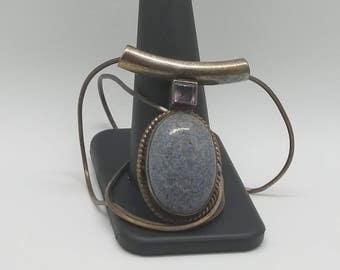 blue stone silver necklace pendant