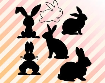 Bunny Svg, Rabbit Svg, Bunnies dxf, eps, clipart png files, Rabbits Vector and clip art files. Bunny clip art, bunny cut file, png, vector.