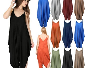 New Womens Thin Strappy Plain Baggy Harem Cami Jumpsuit Drape Lagenlook Playsuit