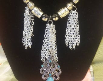 Tasseled chains/choice of 3 tassel groups or one in center/your choice of center stone