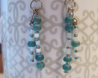 Teal and White Beaded Earrings