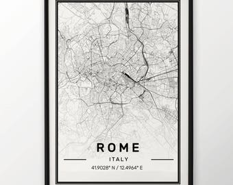 Rome City Map Print, Modern Contemporary poster in sizes 50x70 fit for Ikea frame All city available London, New york Paris Madrid Rome