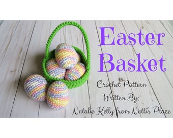 Easter Basket & Eggs Crochet Pattern, Digital Download