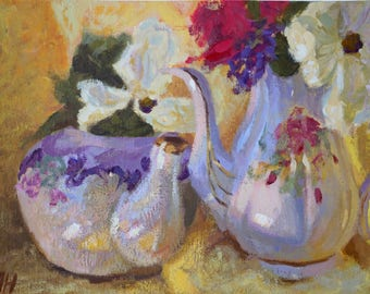 Original Still Life Painting, Acrylic Painting on Board, Teapots and Flowers