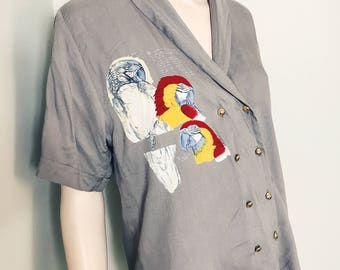 80s Ted Nicol Parrot Print Grey Shirt Size 10 / Parrot / Slouchy Shirt / Eighties Top / Bird Print