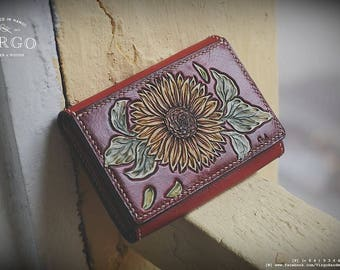 sunflower hand tooled/ hand craved wallet