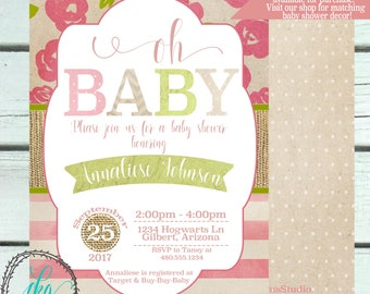 Baby Shower Invitation | Shabby Chic Baby Shower Invitation | Baby Shower Invitation Girl |Vintage Baby Shower | Printable Invitation