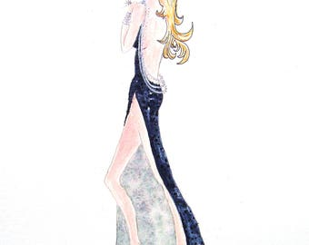 Skinny Goddess #7 Watercolor Painting by Cherie IZZO