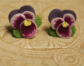 Pansy earrings, purple and white pansy studs, pansy flower jewelry, handcrafted with clay