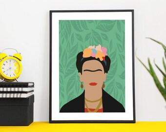Frida Kahlo Print | illustration | design | poster | modern | minimal | digital | art | icon | hero | portrait