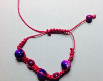 Pink and Purple Macrame Bracelet