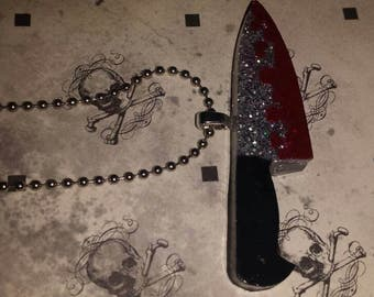 Bloody Knife Necklace Horror