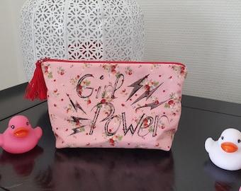 """Makeup / pouch / clutch / handmade / gift women / clutch """"Girl Power"""" Strawberry"""