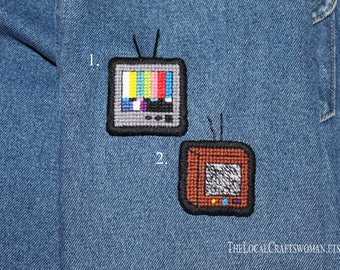 Cross Stitched TV pin / Twenty One Pilots Embroidery Brooch/ Embroidered brooch/ TOP brooch embroidery/ Pinback/ Cloth Patches/ Brooch Pin
