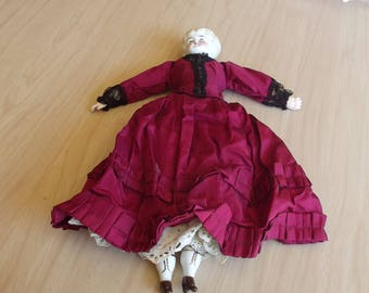 "Antique 16"" China Doll with Cranberry Dress"
