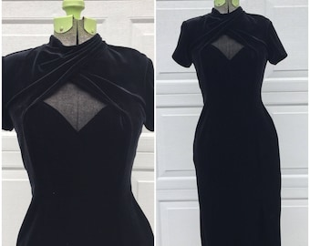 Vintage Black Velvet Dress w Mesh Cutout, Small
